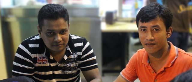 Md Sabuj (right) with his friend Nurabi Sarkar (left)