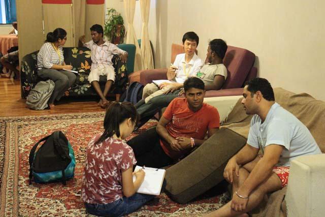 Interviewing injured workers at Dibashram